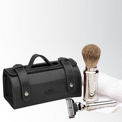 Rasier-Set in Ledertasche, schwarz, Gillette Mach3 1 Stück
