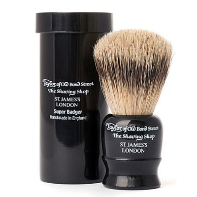 Taylor of Old Bond Street Travel Super Badger Shaving Brush Black 1 Stück